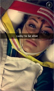 Christal McGee after accident– via Snapchat