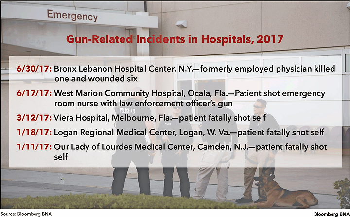 Gun-Related Incidents in Hospitals, 2017