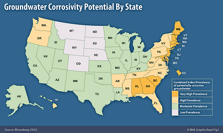 USGS Water Well Study Finds States At Risk For Lead Bloomberg BNA - Us map of lead in water