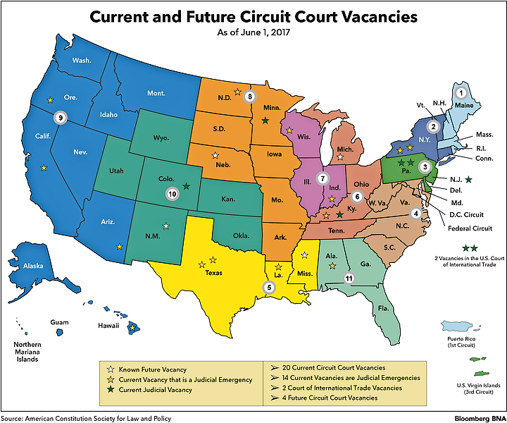 Federal Judiciary May Be Trumps Most Durable Legacy Bloomberg BNA - Us federal courts map