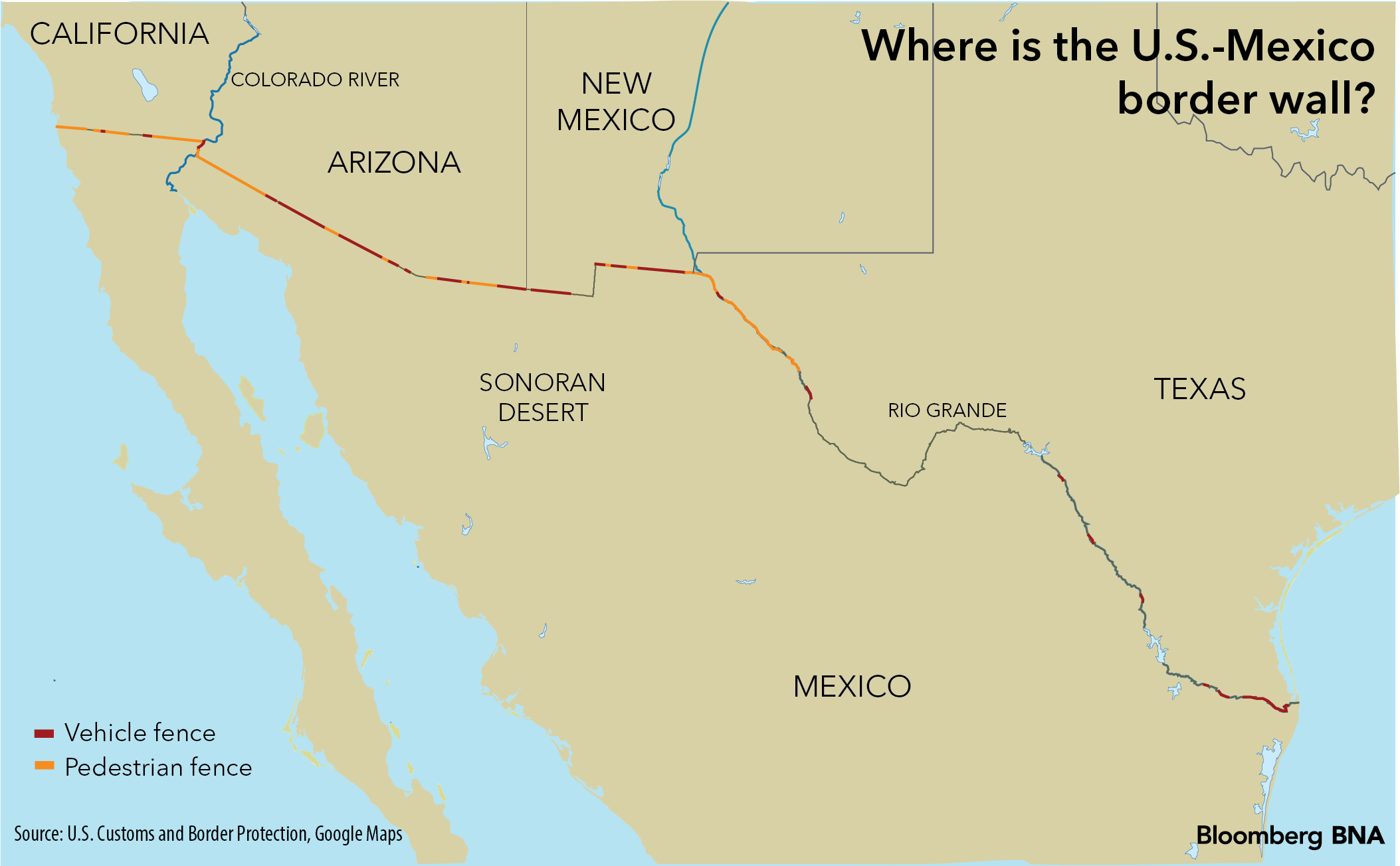 Trumps Border Wall Could Trouble Waters With Mexico Bloomberg BNA - Map of border fence us mexico